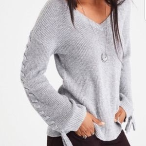 American Eagle Lace Up Sleeve V Neck Sweater